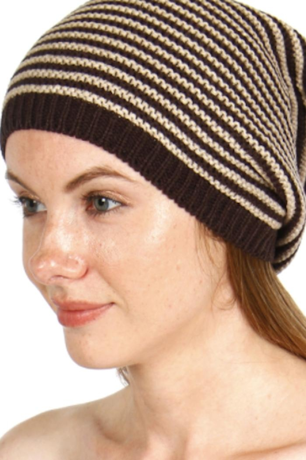 David & Young Striped Knit Beanie - Front Cropped Image