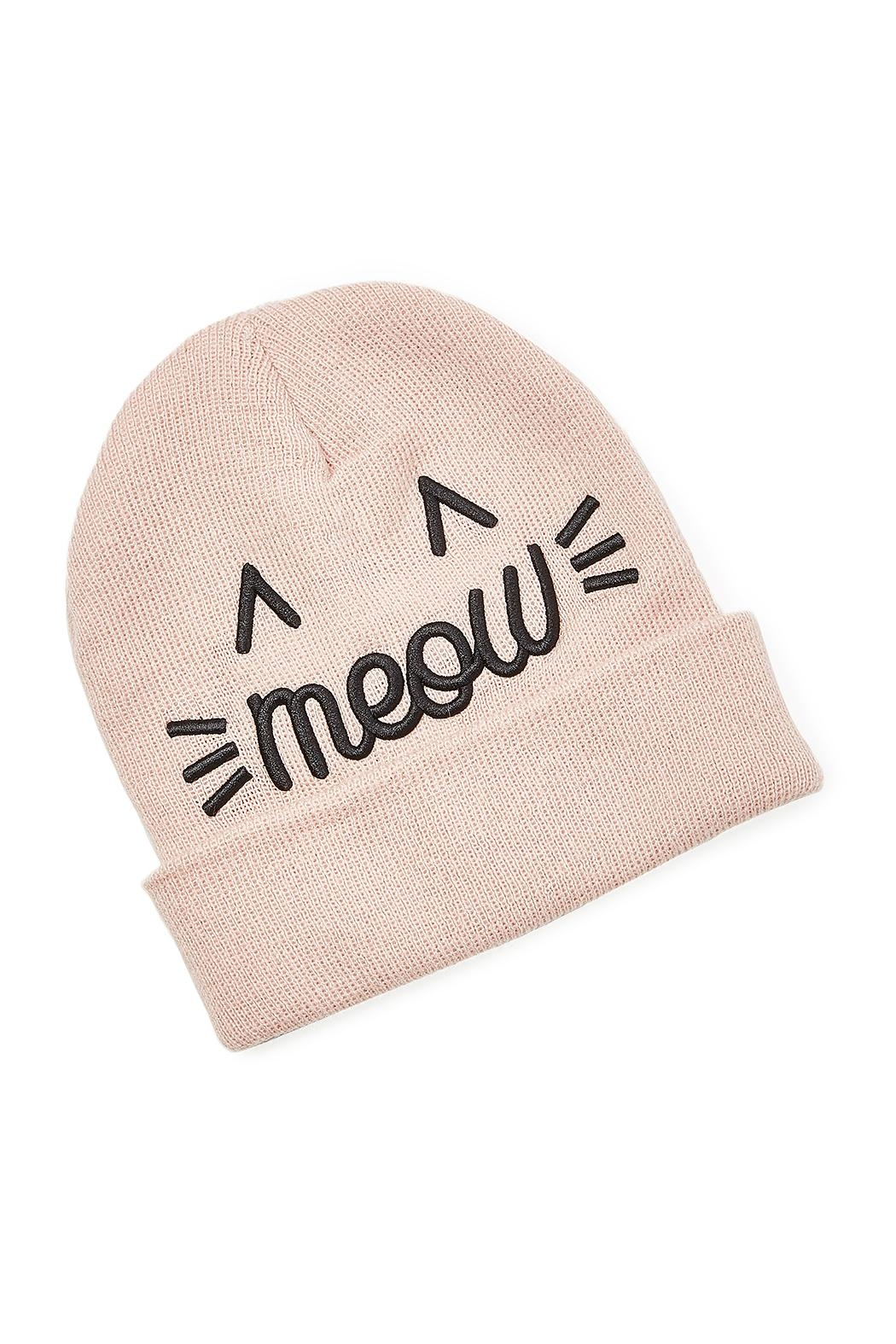 david and young Meow Embroidered Beanie - Front Cropped Image