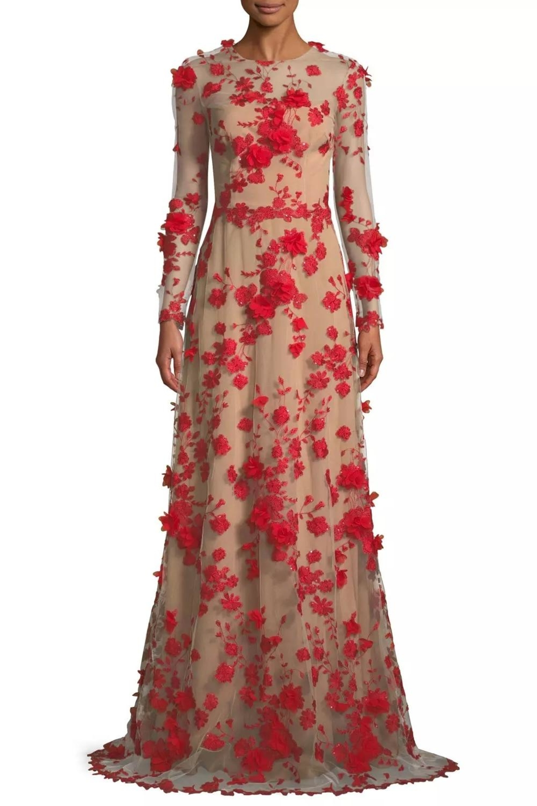 David Meister Floral Evening Gown - Main Image