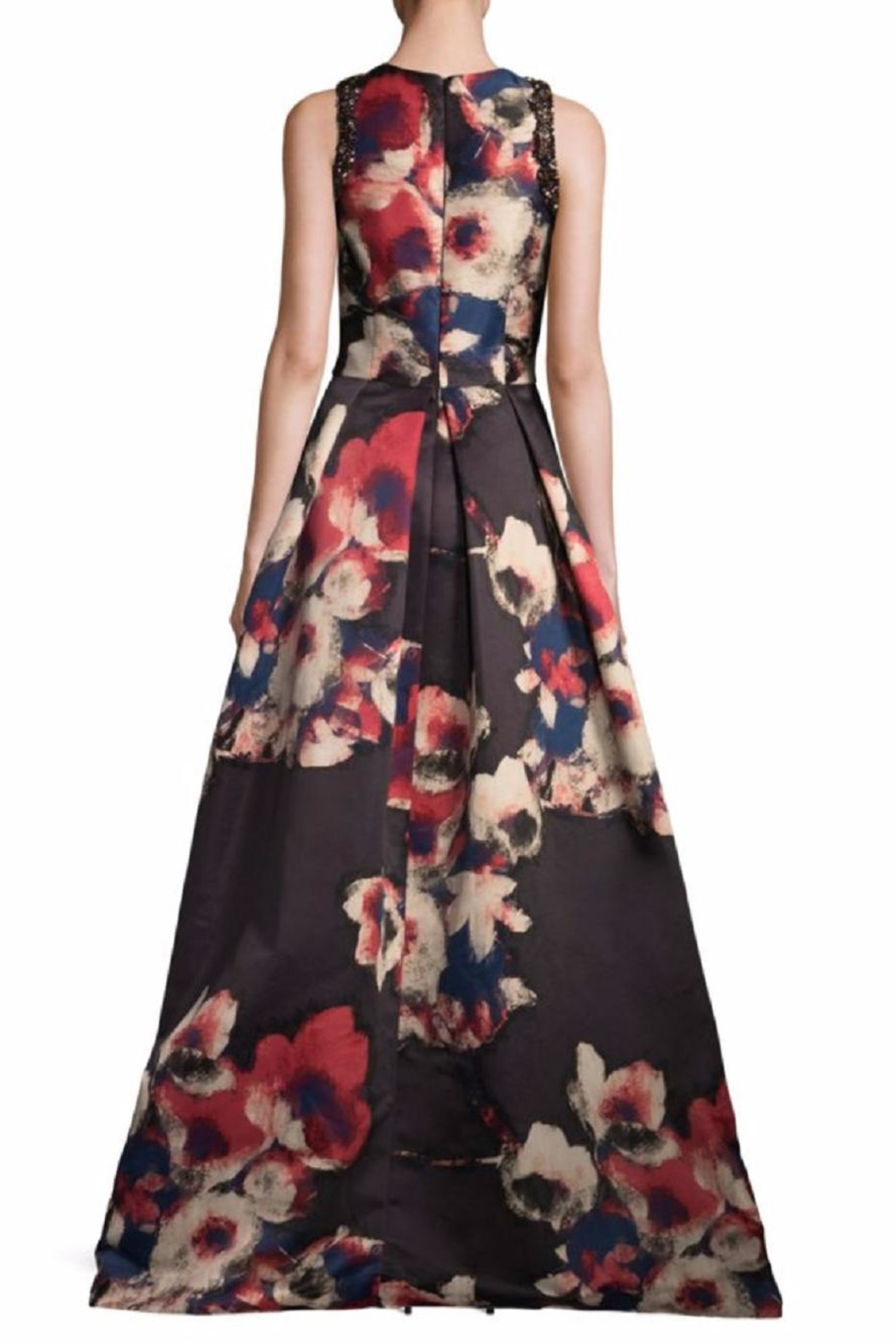 David Meister Floral Sleeveless Gown - Front Full Image