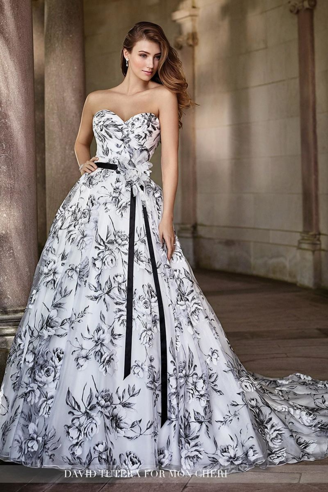 David Tutera for Mon Cheri Floral Burnout Gown - Main Image