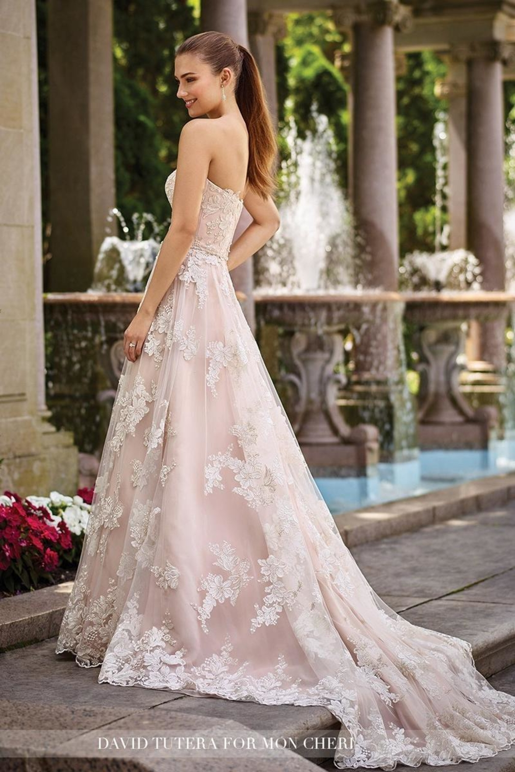 David Tutera for Mon Cheri Lace A-Line Gown - Front Full Image