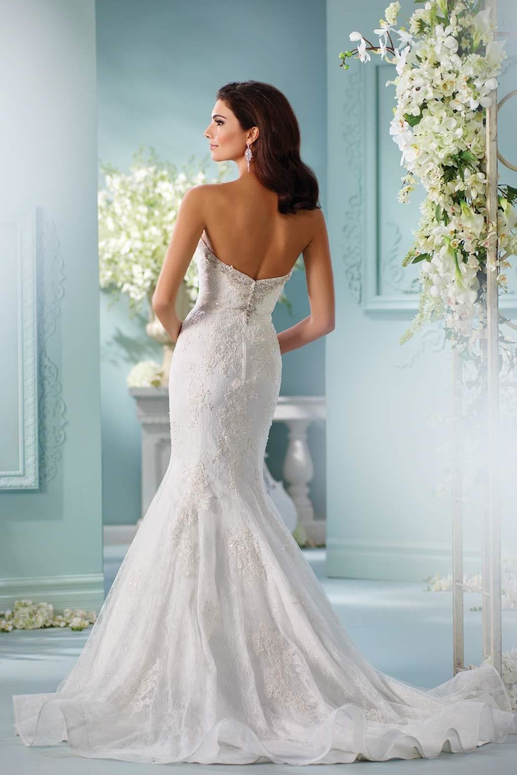 David Tutera for Mon Cheri Lace Trumpet Gown - Front Full Image