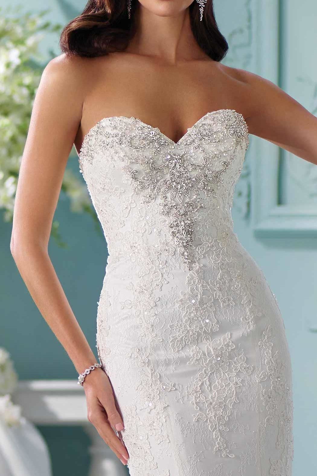 David Tutera for Mon Cheri Lace Trumpet Gown - Back Cropped Image