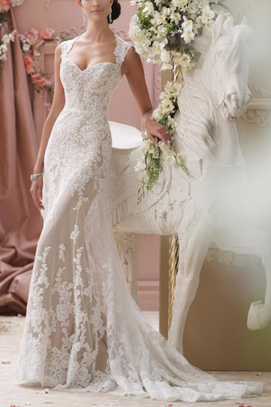 David Tutera for Mon Cheri Lace Wedding Gown - Front Cropped Image