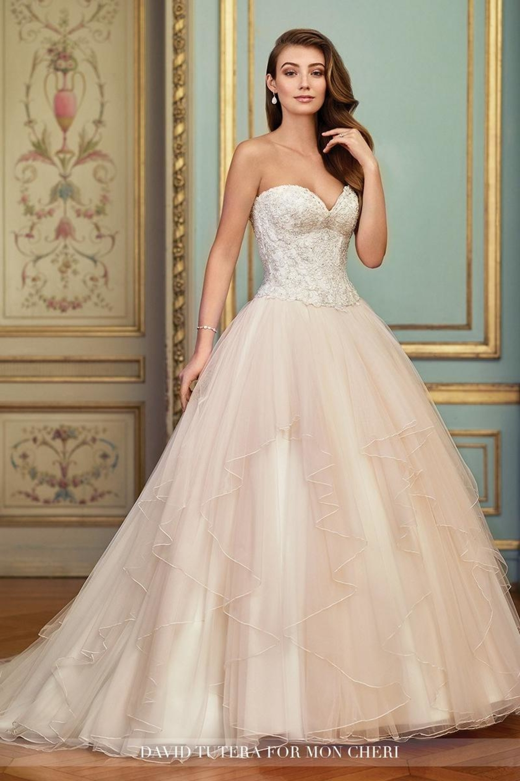 David Tutera for Mon Cheri Layered Tulle Two-Piece - Front Cropped Image