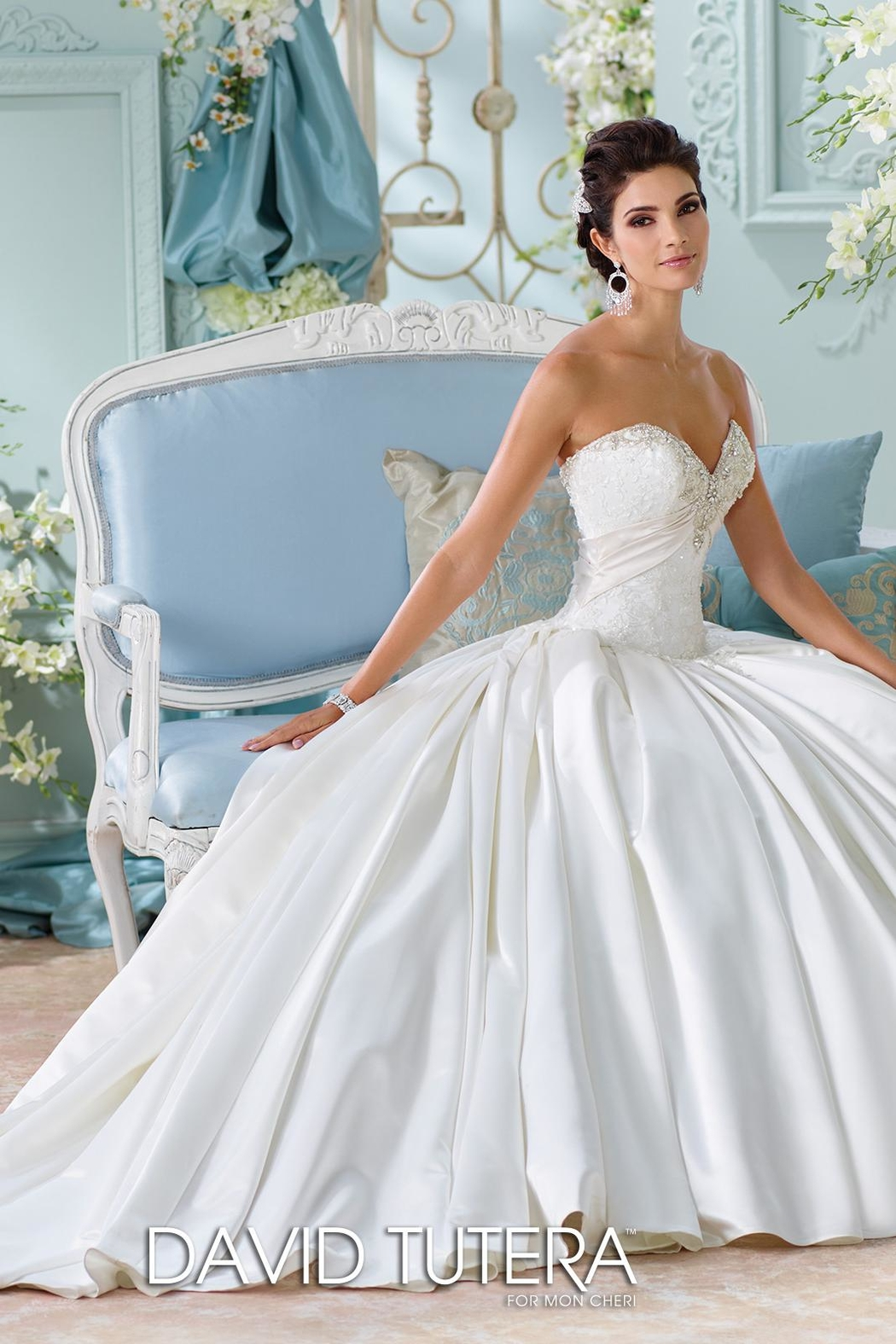 David Tutera for Mon Cheri Satin Bridal Gown - Front Cropped Image