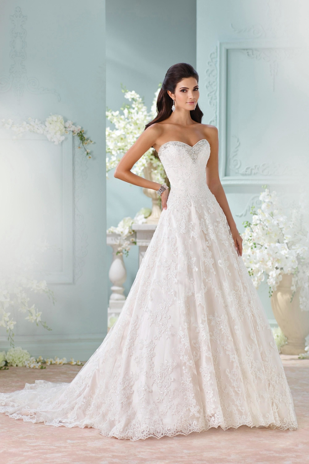 David Tutera for Mon Cheri Strapless Lace Gown - Main Image