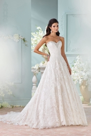 David Tutera for Mon Cheri Strapless Lace Gown - Front cropped