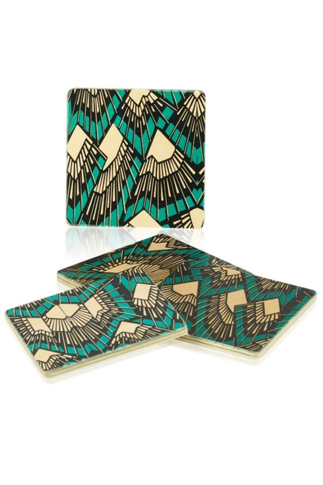 DAVINCI Deco Teal Coasters - Front Cropped Image