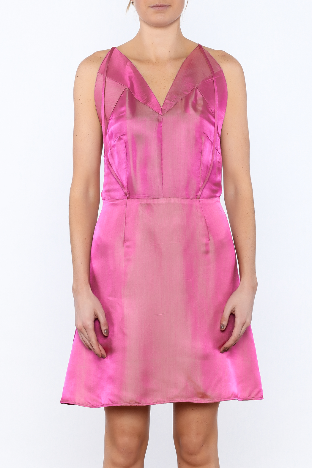 Dawn Sunflower Pink Silk Dress - Side Cropped Image