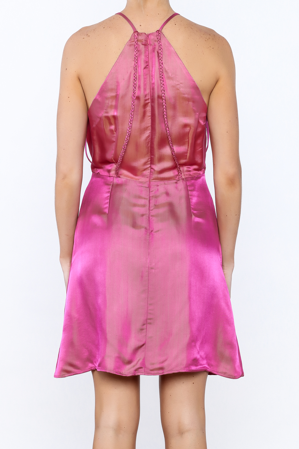 Dawn Sunflower Pink Silk Dress - Back Cropped Image
