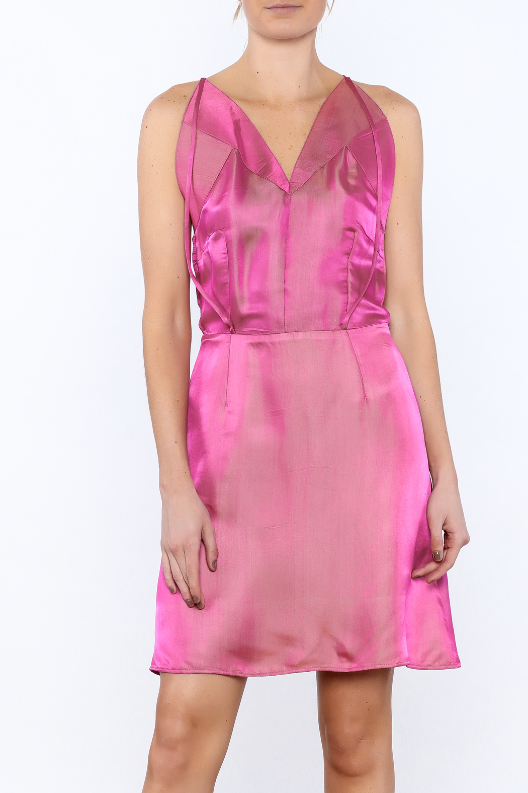 Dawn Sunflower Pink Silk Dress - Main Image
