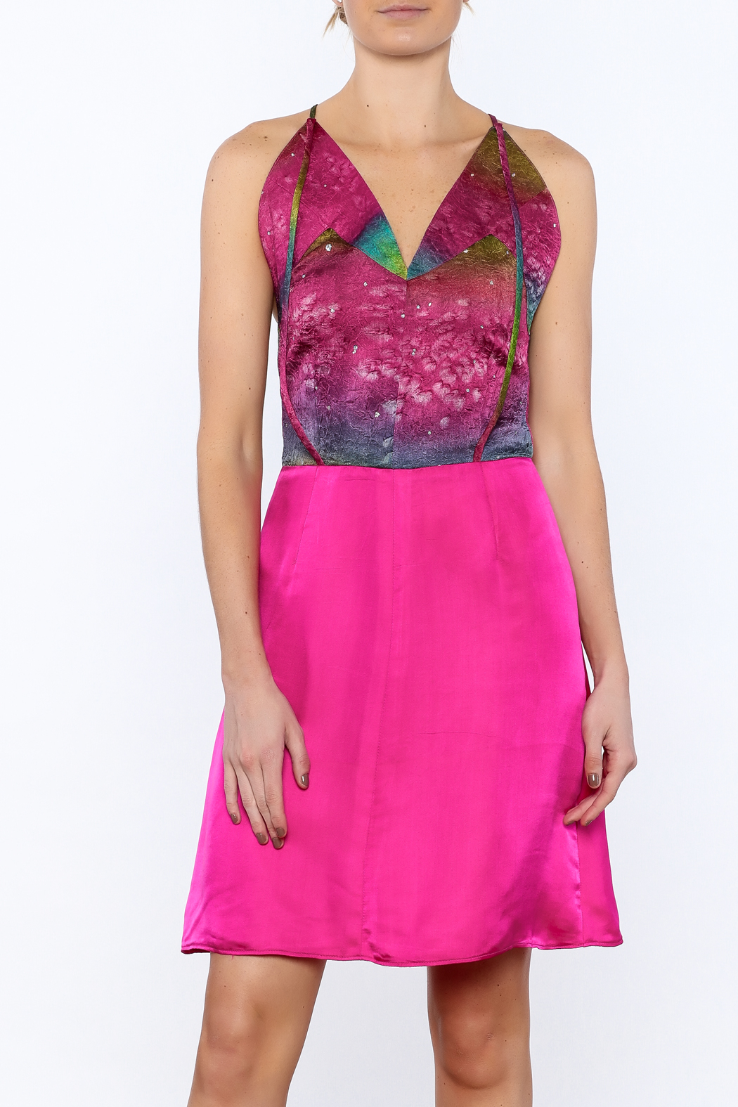 Dawn Sunflower Pink Silk Dress - Front Cropped Image