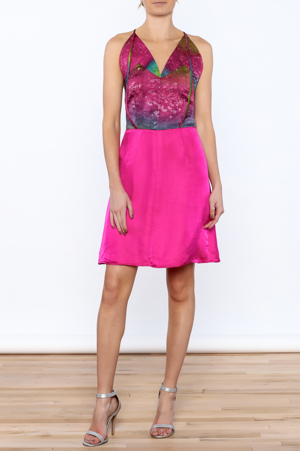 Dawn Sunflower Pink Silk Dress - Front Full Image
