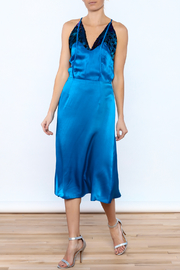 Dawn Sunflower Blue Silk Midi Dress - Product Mini Image