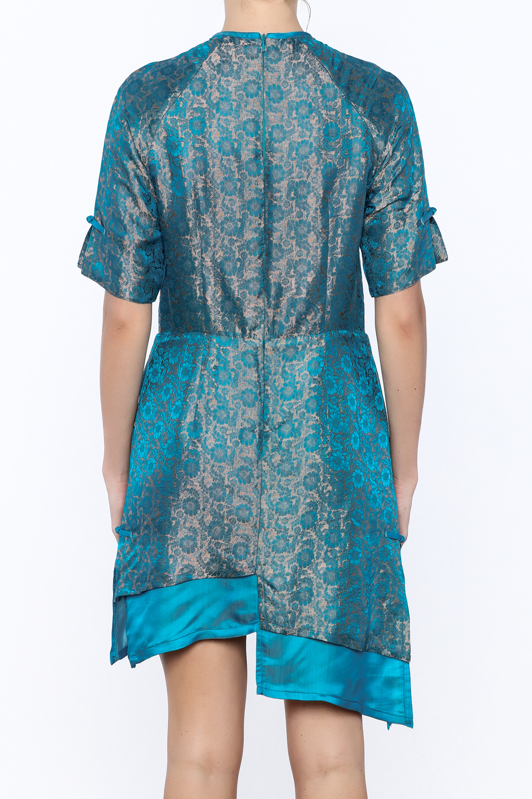 Dawn Sunflower Asymmetrical Silk Floral Dress - Back Cropped Image