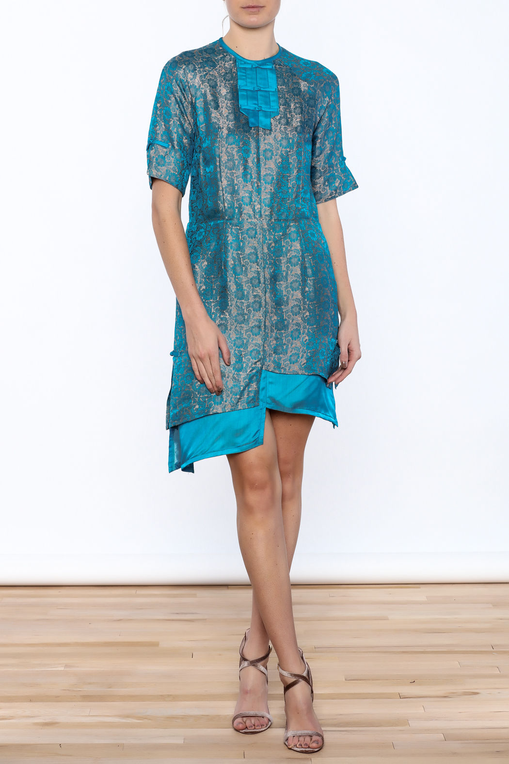 Dawn Sunflower Asymmetrical Silk Floral Dress - Front Full Image