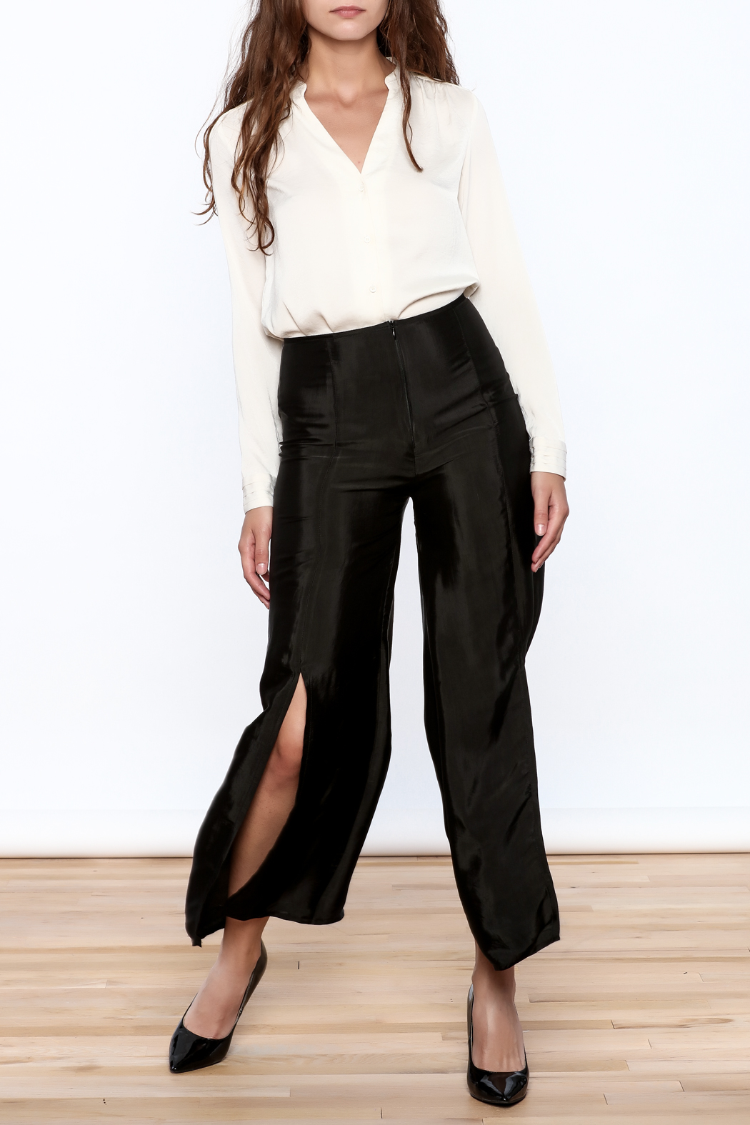 Dawn Sunflower Basic Flared Pant With Front Slit Cut Off - Main Image
