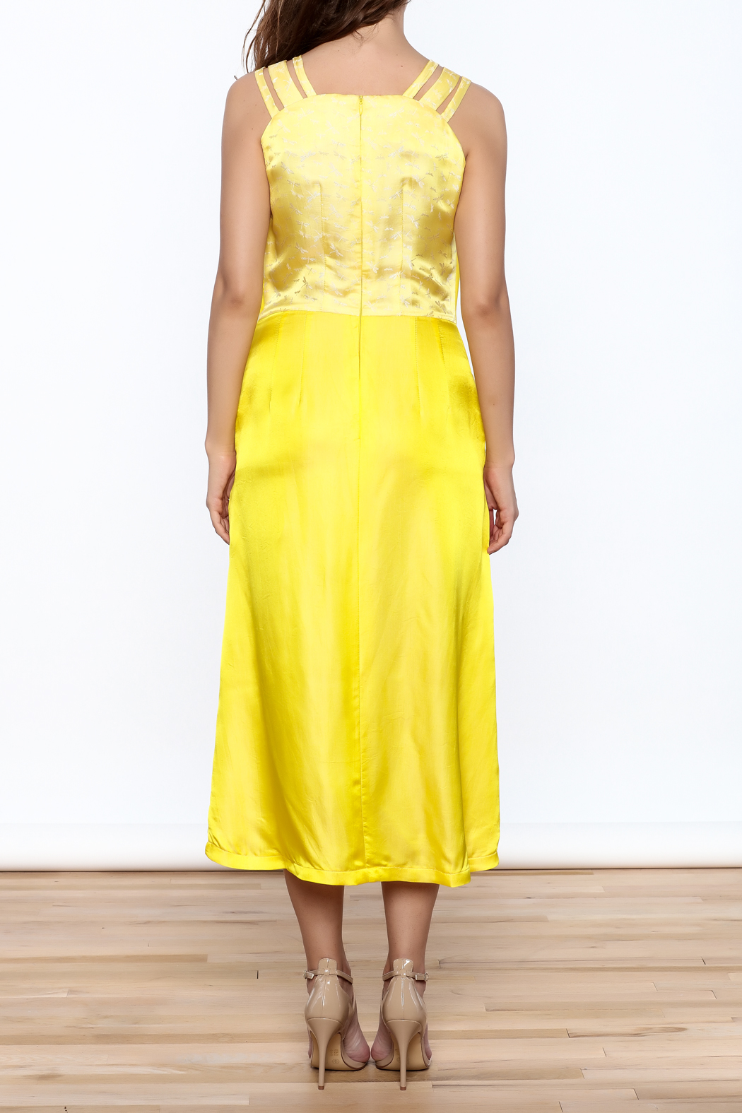 Dawn Sunflower Bright Yellow Dress - Back Cropped Image
