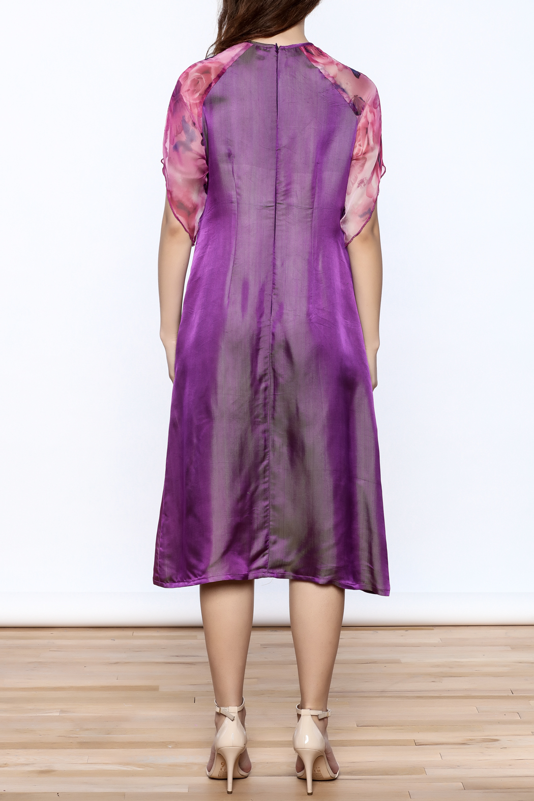 Dawn Sunflower Purple Silk Midi Dress - Back Cropped Image