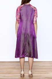 Dawn Sunflower Purple Silk Midi Dress - Back cropped