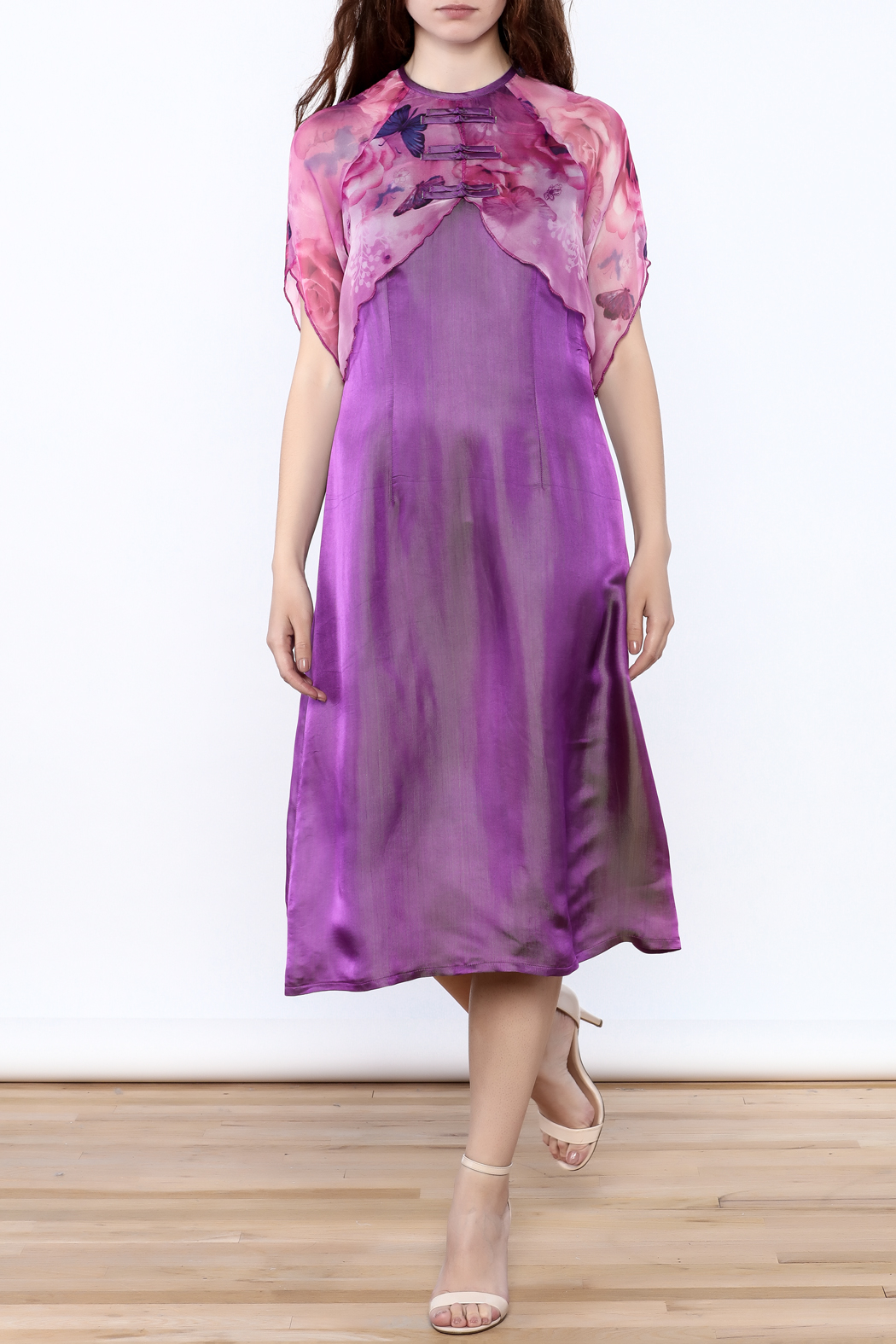 Dawn Sunflower Purple Silk Midi Dress - Front Full Image