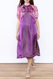 Dawn Sunflower Purple Silk Midi Dress - Front full body