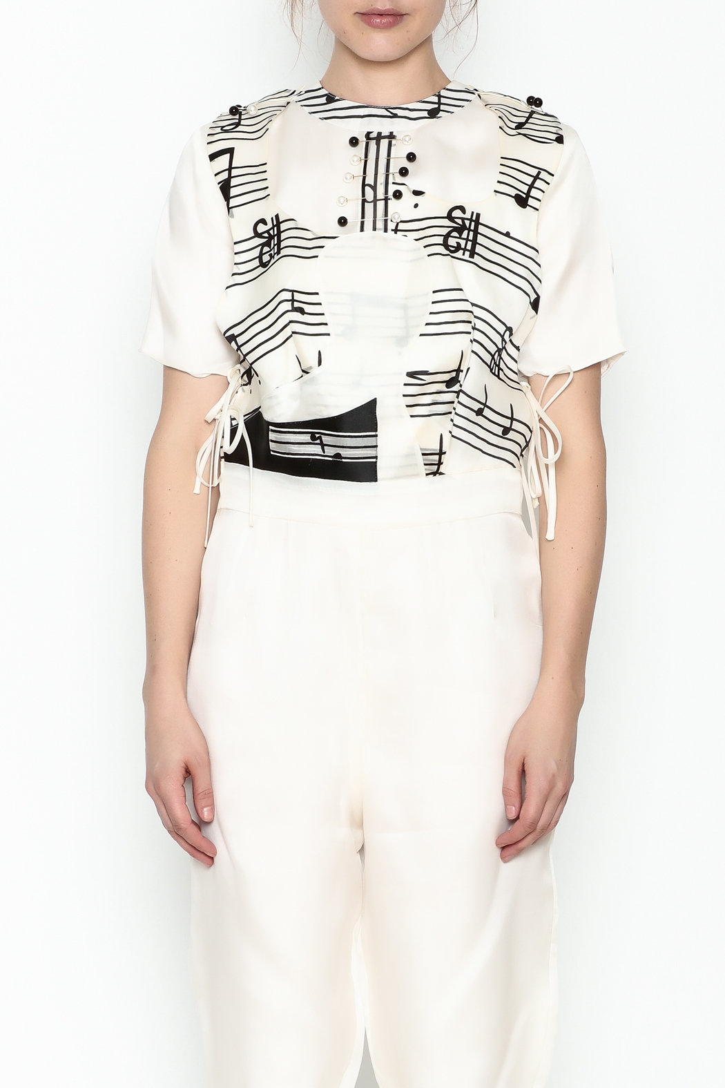 Dawn Sunflower Guitar Abstract Midi Jumpsuit - Front Cropped Image