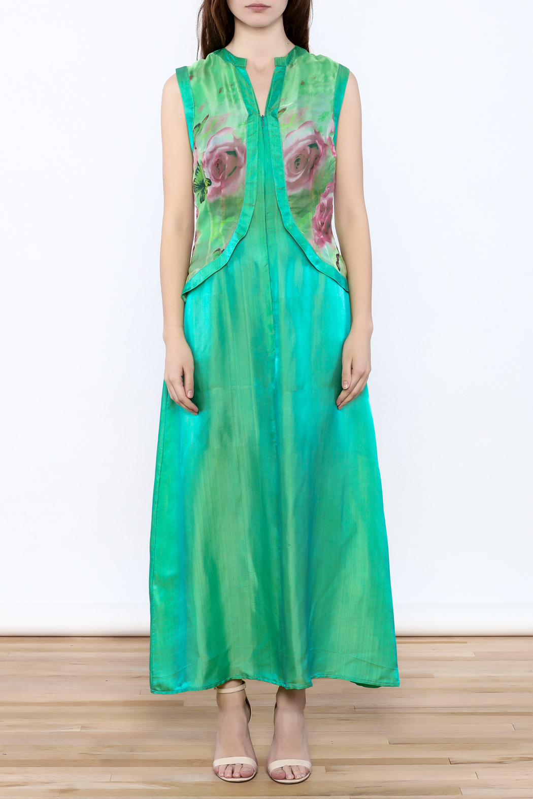 Dawn Sunflower Green Maxi Dress - Front Cropped Image