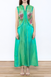 Dawn Sunflower Green Maxi Dress - Front cropped