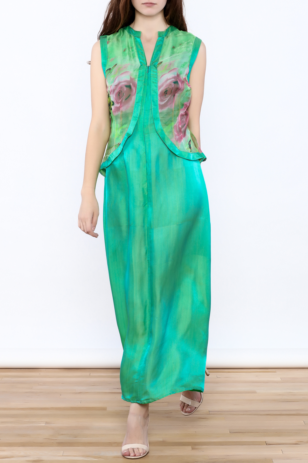 Dawn Sunflower Green Maxi Dress - Main Image