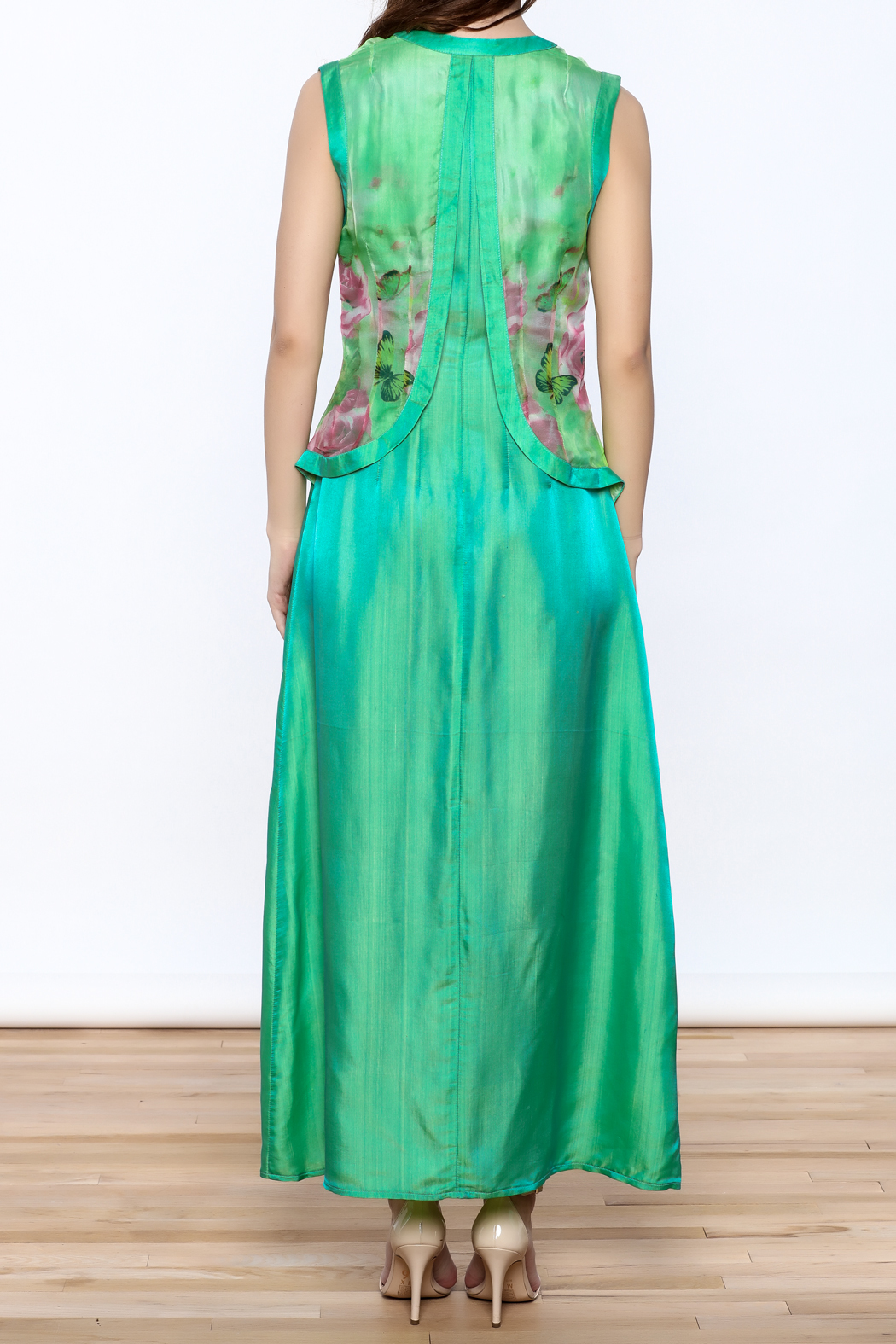Dawn Sunflower Green Maxi Dress - Back Cropped Image