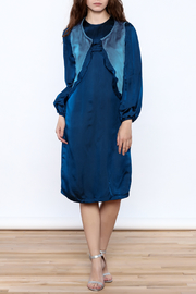 Dawn Sunflower Midnight Blue Silk Dress - Product Mini Image
