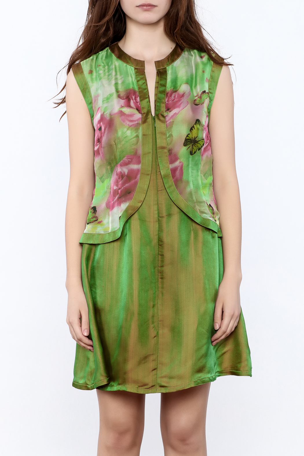 Dawn Sunflower Mini Floral Dress - Side Cropped Image