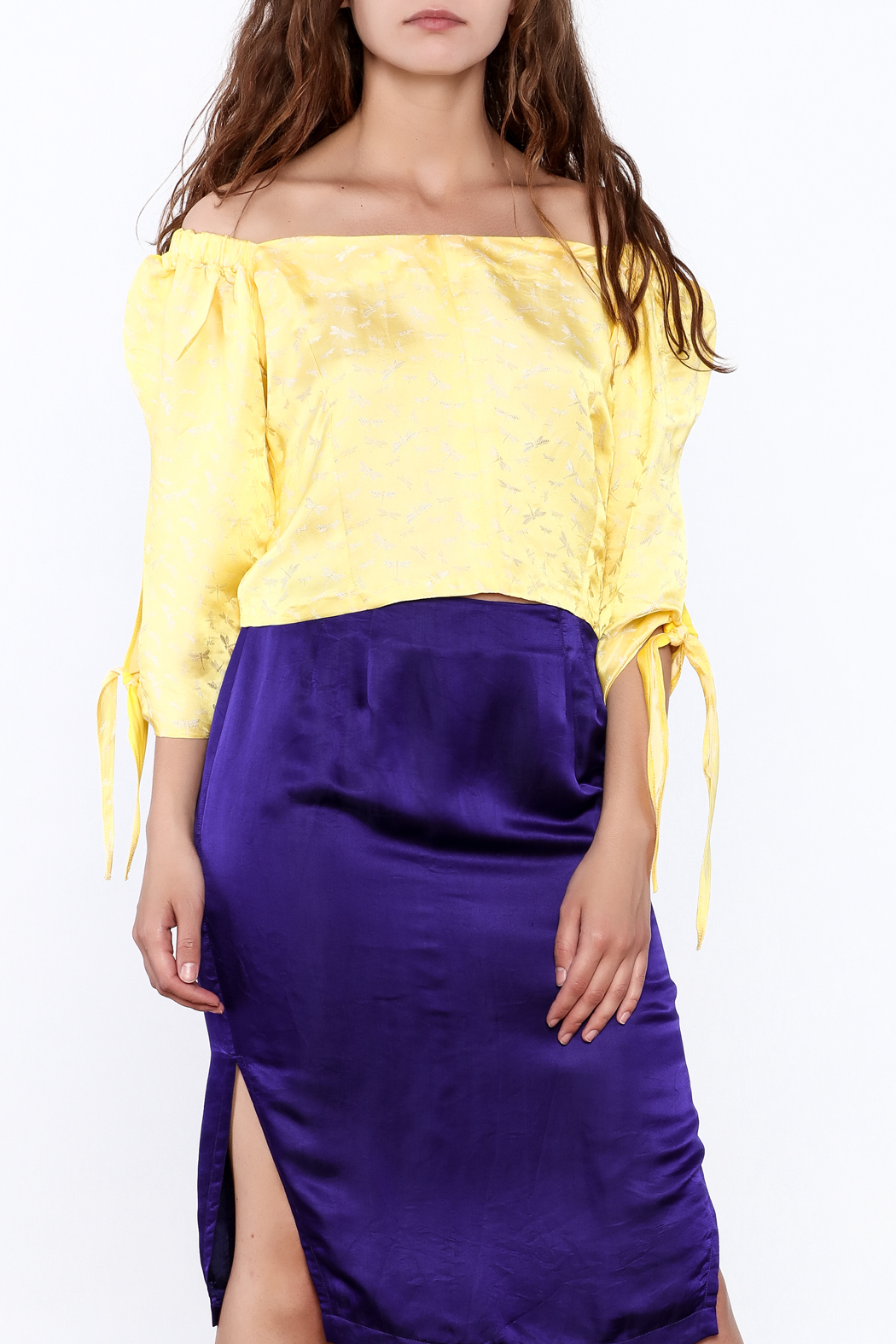 Dawn Sunflower Off Shoulder Dressy Blouse - Front Cropped Image