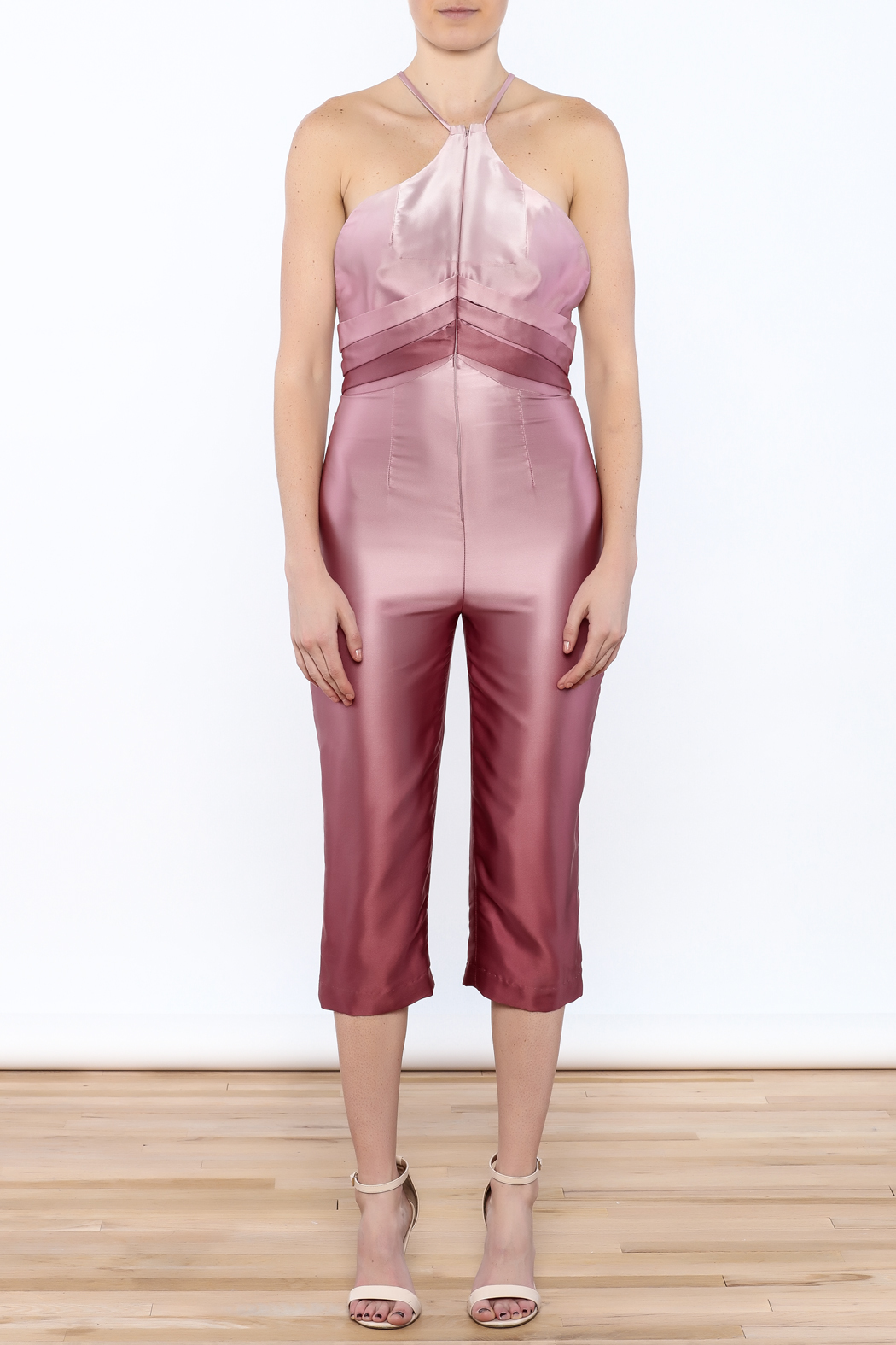 Dawn Sunflower Ombre Pink Jumpsuit - Front Cropped Image
