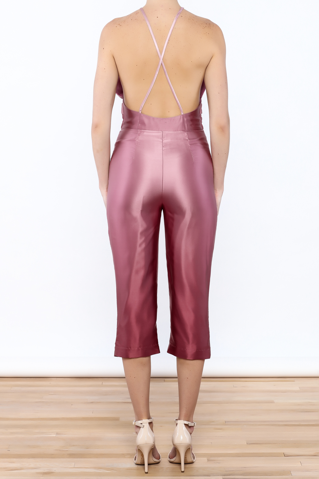 Dawn Sunflower Ombre Pink Jumpsuit - Back Cropped Image