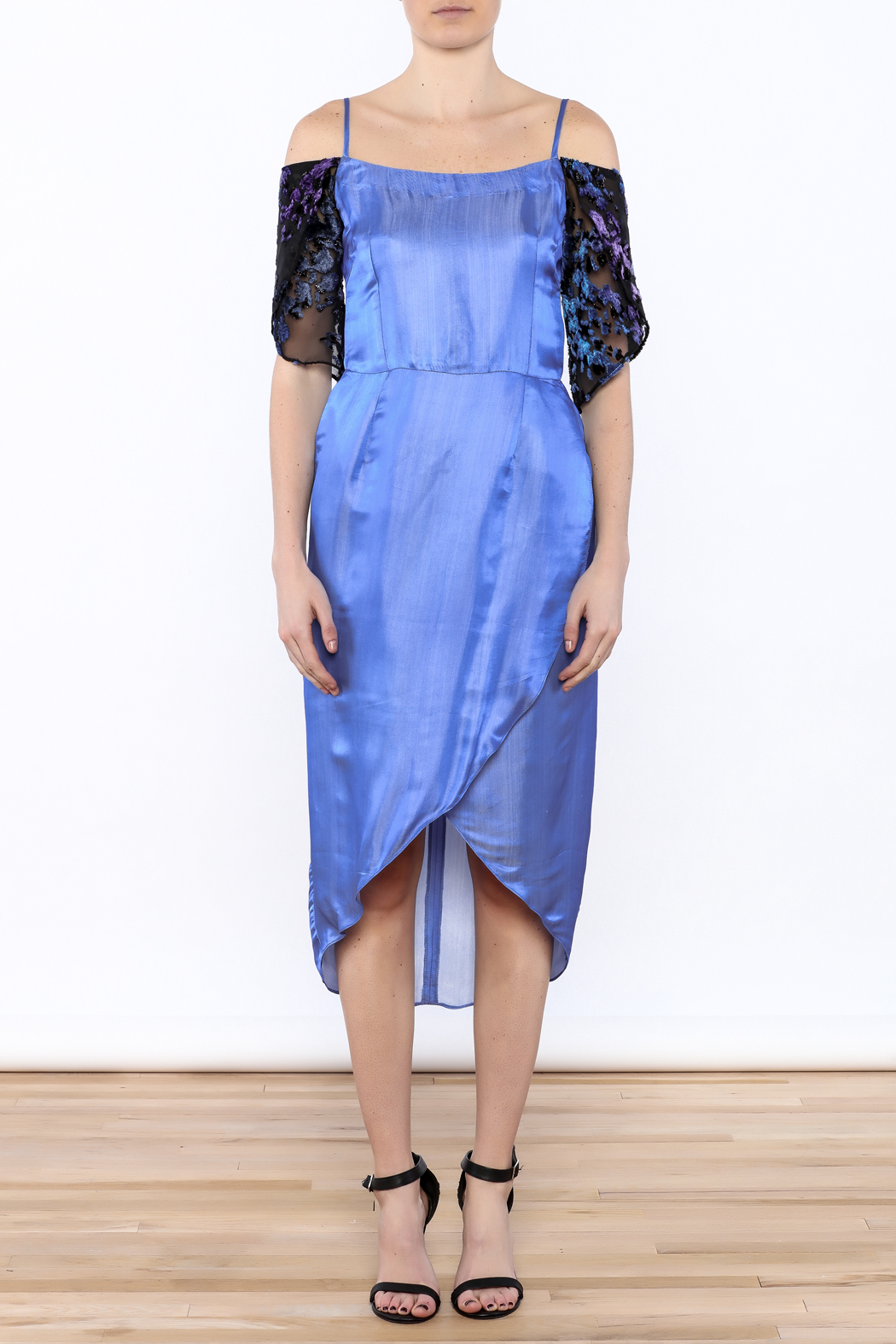 Dawn Sunflower Blue Tulip Dress - Front Cropped Image