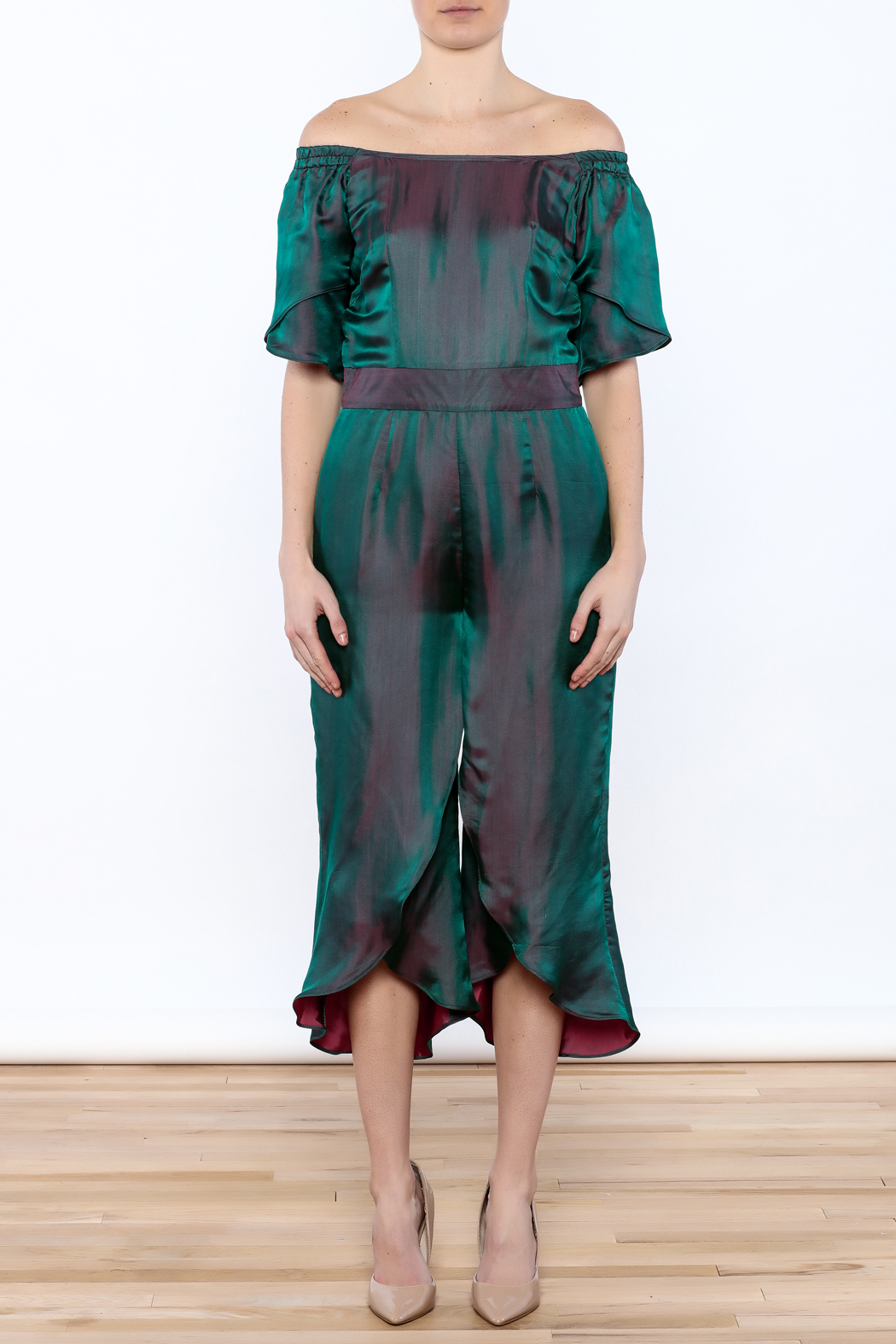 Dawn Sunflower Overlap Jumpsuit - Front Cropped Image