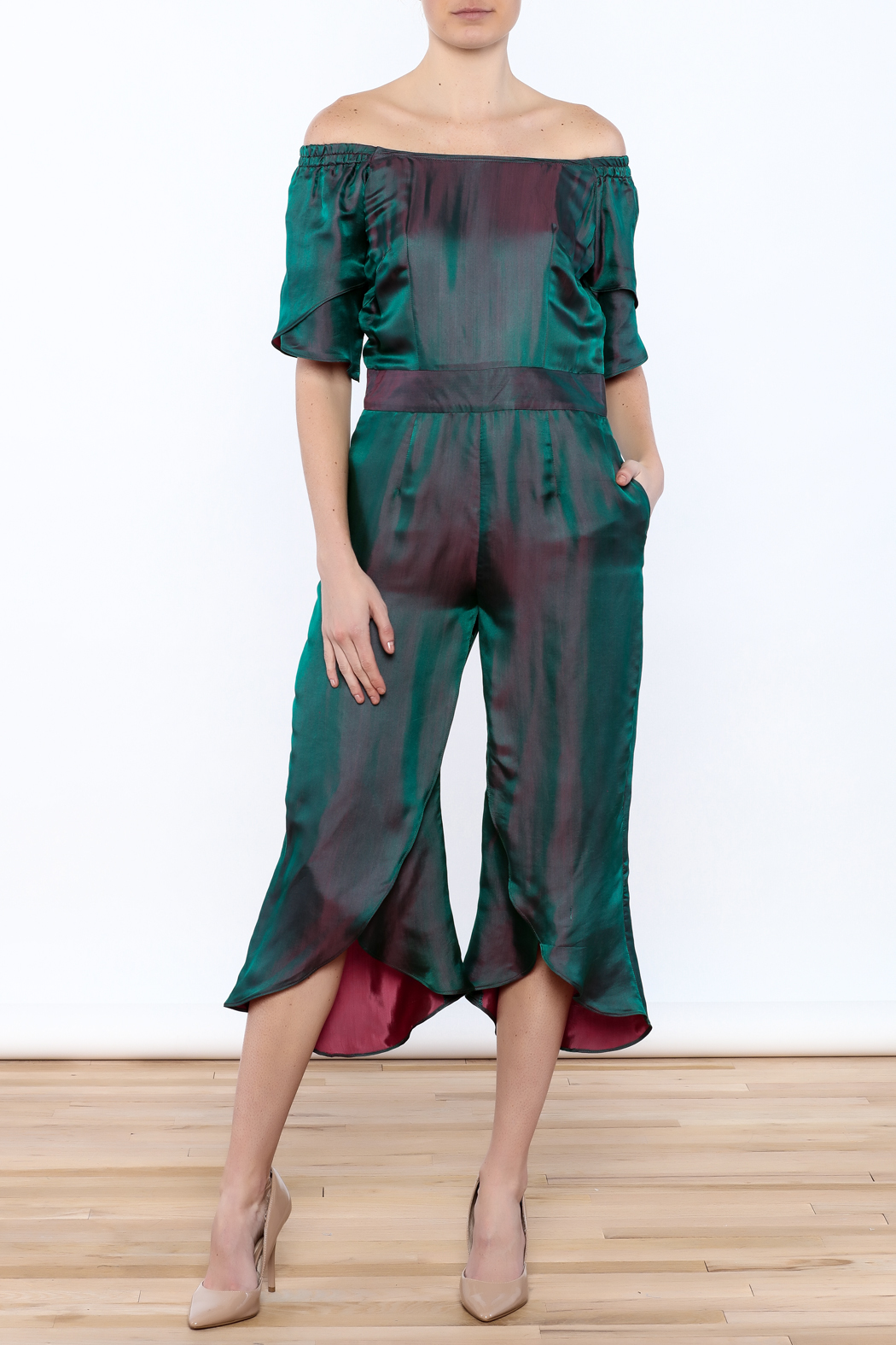 Dawn Sunflower Overlap Jumpsuit - Front Full Image