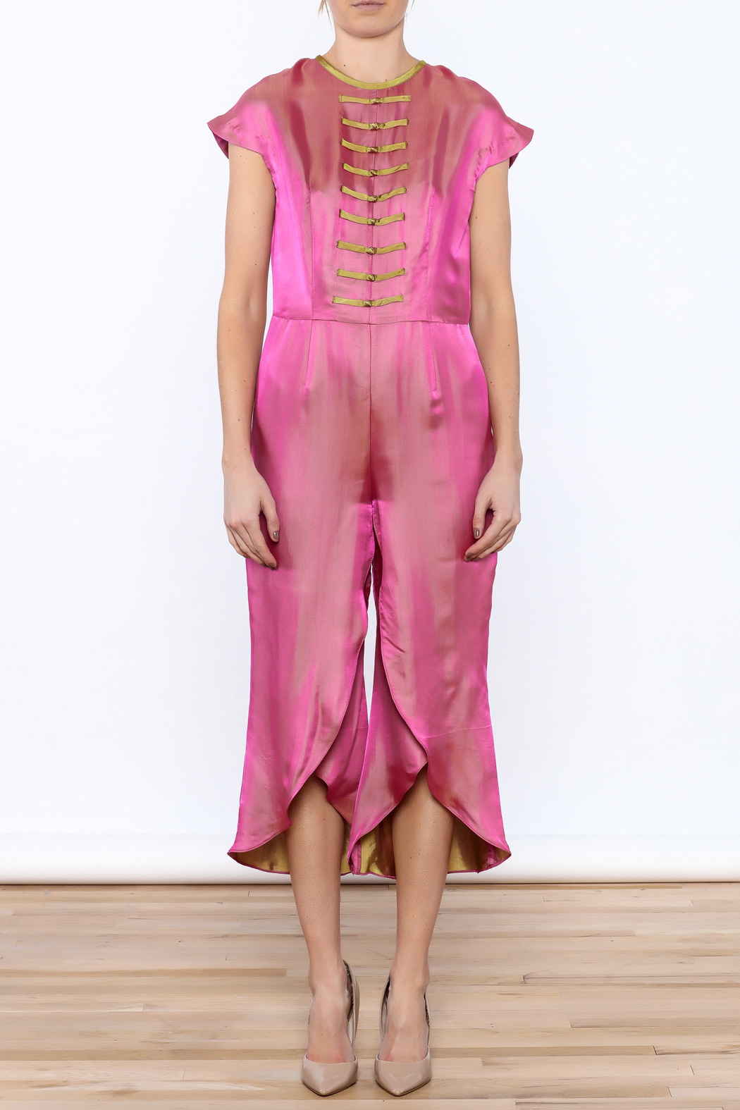 Dawn Sunflower Pink Silk Jumpsuit - Front Cropped Image