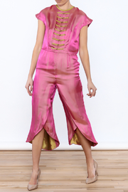 Dawn Sunflower Pink Silk Jumpsuit - Front full body