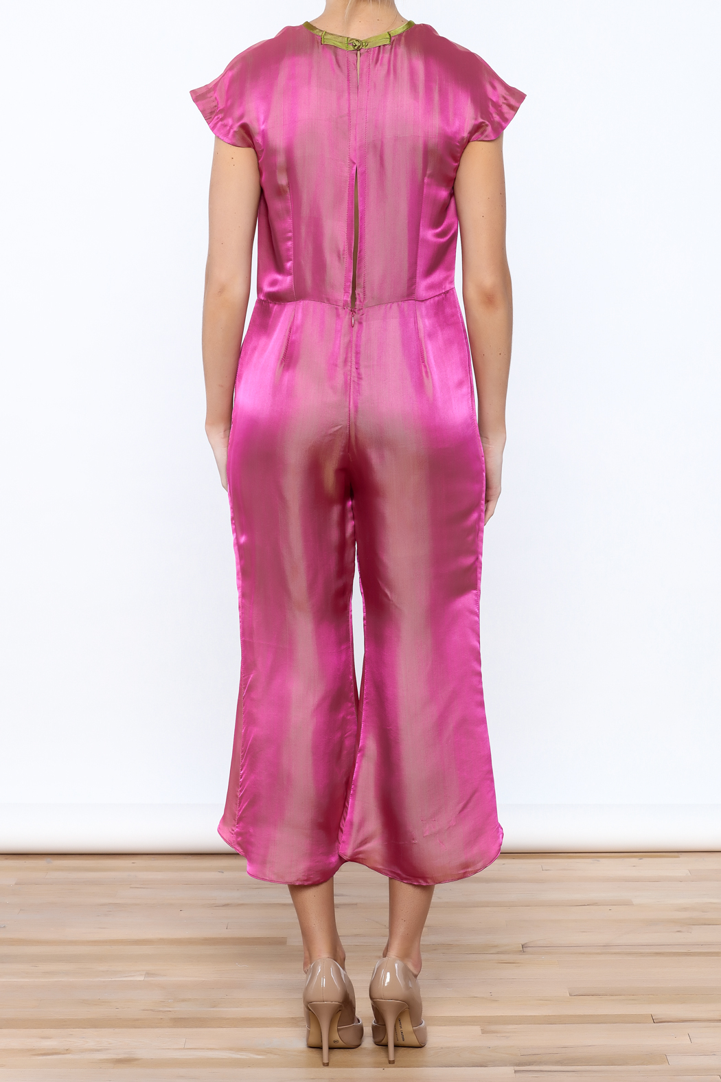 Dawn Sunflower Pink Silk Jumpsuit - Back Cropped Image
