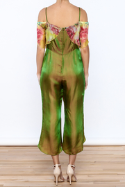 Dawn Sunflower Floral Silk Jumpsuit - Back cropped