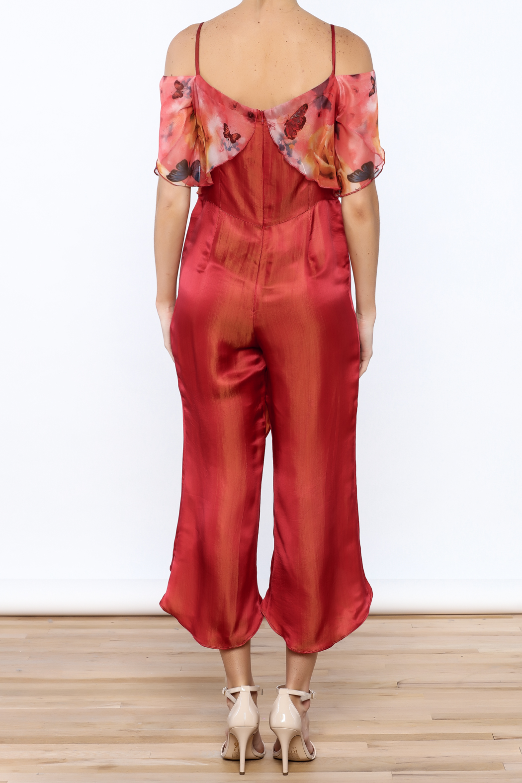 Dawn Sunflower Floral Silk Jumpsuit - Back Cropped Image