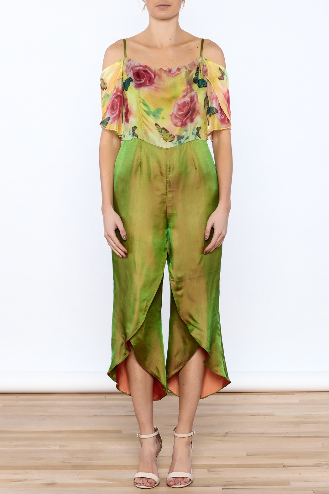Dawn Sunflower Floral Silk Jumpsuit - Front Cropped Image