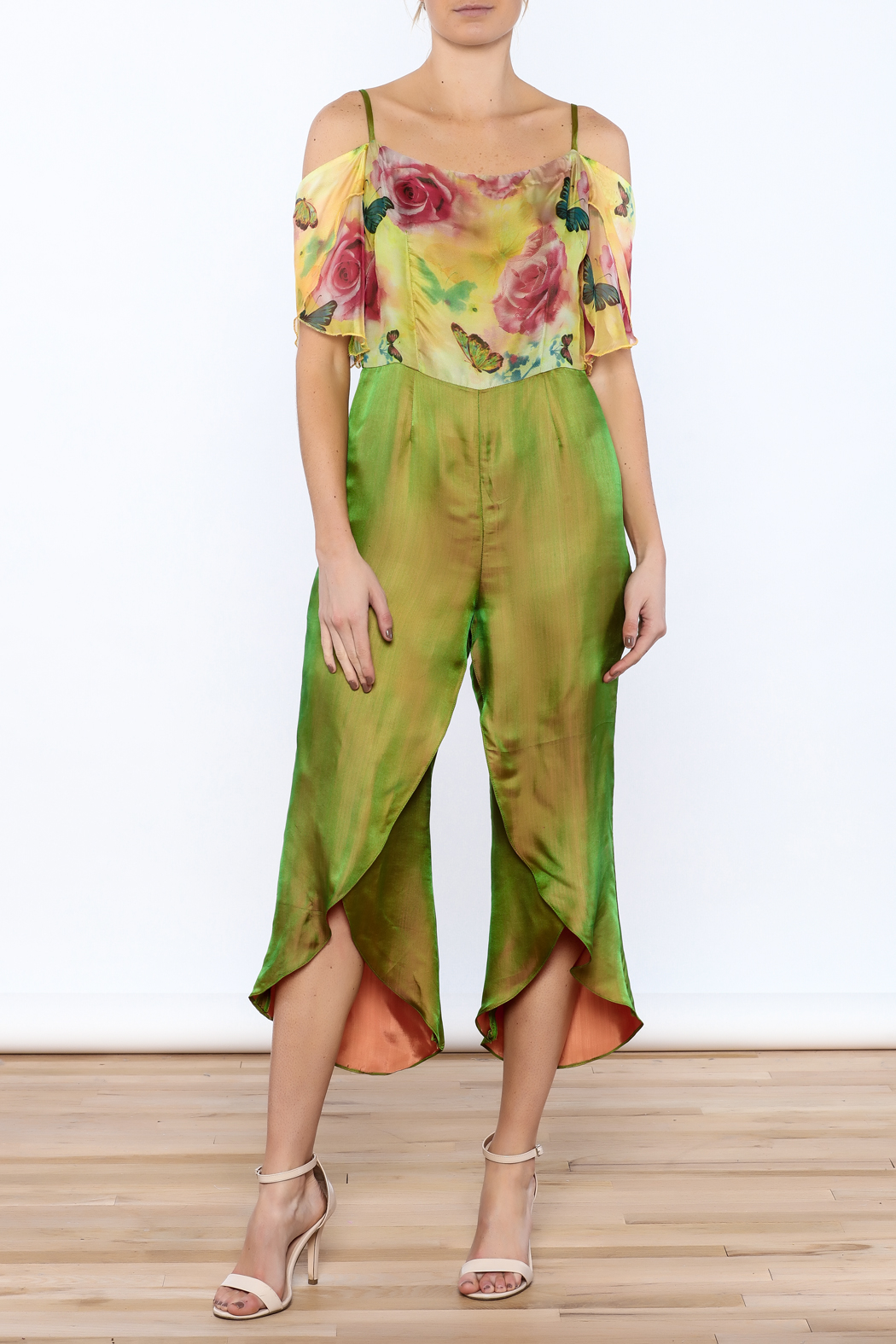 Dawn Sunflower Floral Silk Jumpsuit - Front Full Image