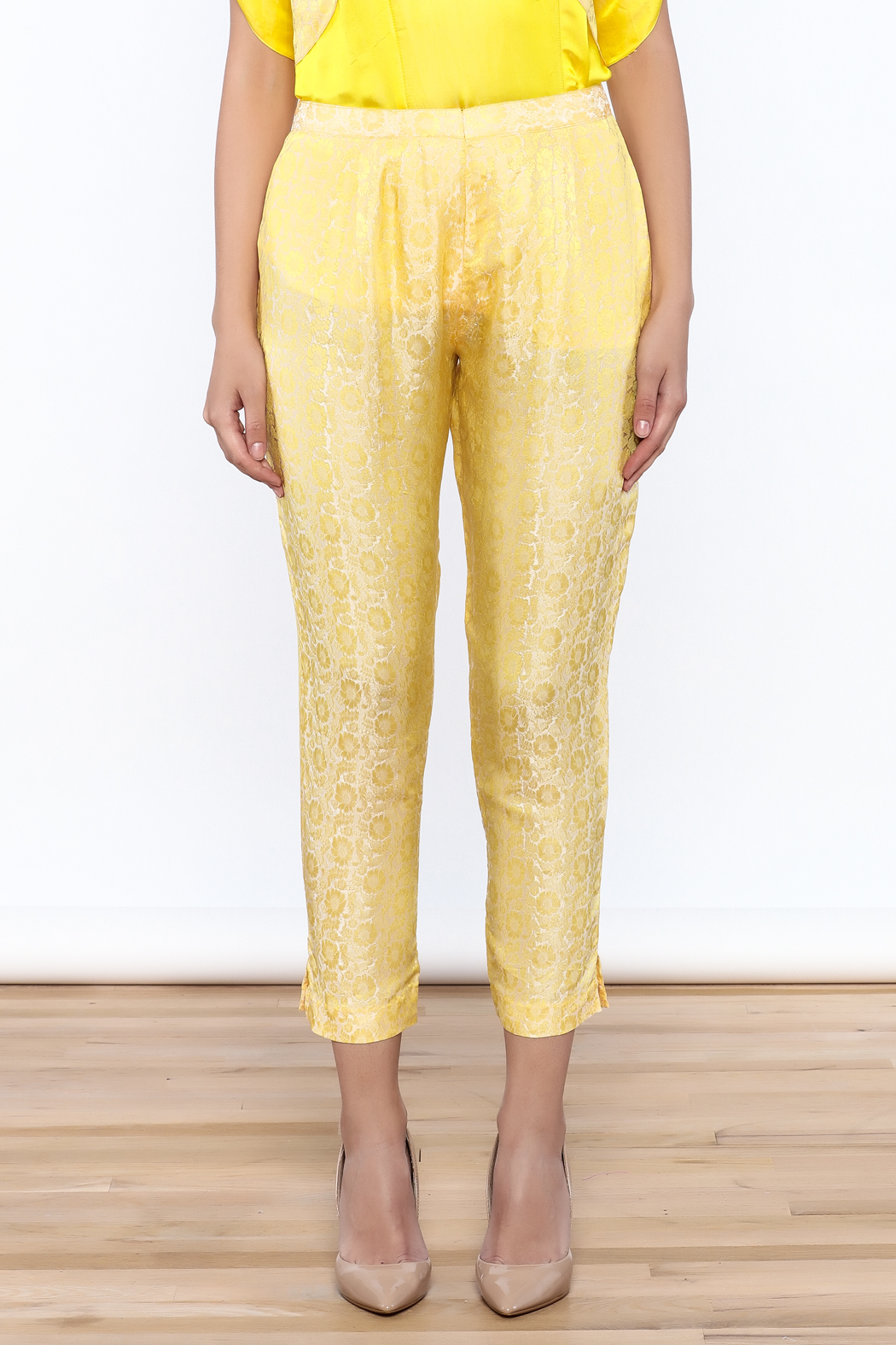 Dawn Sunflower Yellow Floral Pant - Back Cropped Image