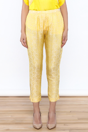 Dawn Sunflower Yellow Floral Pant - Back cropped
